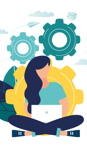 Woman sitting with laptop on lap with cogs behind her representing people interacting with processes