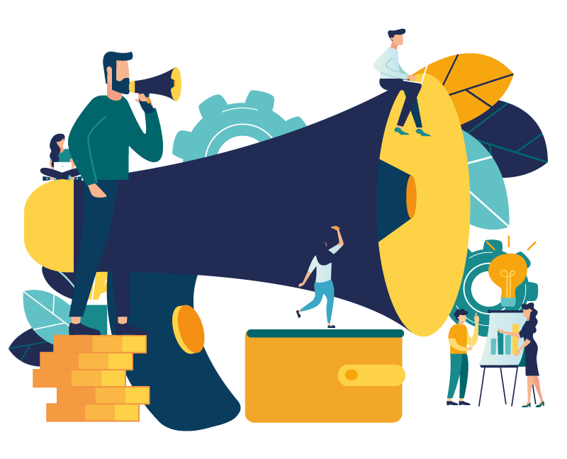 Large megaphone with people describing communication in business projects