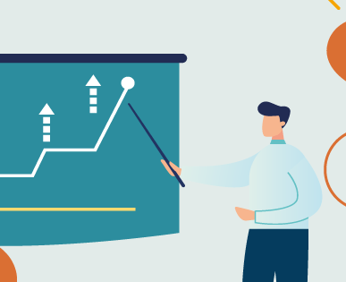 man standing at board pointing at a chart