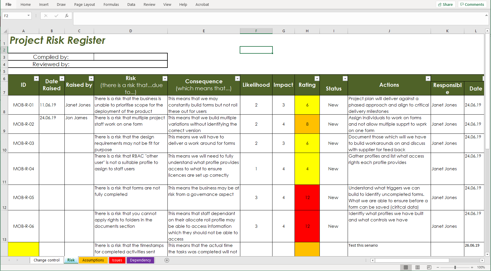 example of risk and issues log in Microsoft Excel - contact us to get a copy
