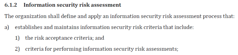 ISO 27001 extract from Information security risk assessment 6.1.2