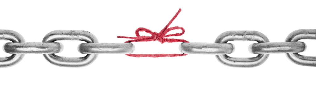 chain with a string replacing one of the links representing weakness